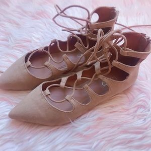 ALDO NWOT Nude lace up sandals 7.5 7 1/2